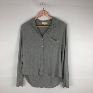 Anthropologie Cloth and Stone Gray Button-down Top